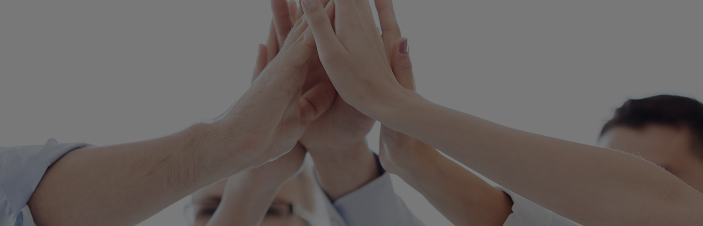 Group of hands touching